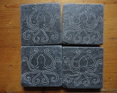 OCTOPUS KRAKEN CTHULHU Coasters - Hand Carved Natural Slate - More Designs Available