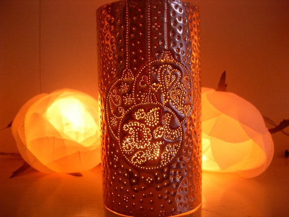 Christmas Baubles Copper Candle Lantern