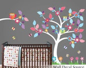 Colorful Nursery Tree Wall Decal - Floral and Owl Vinyl Stickers