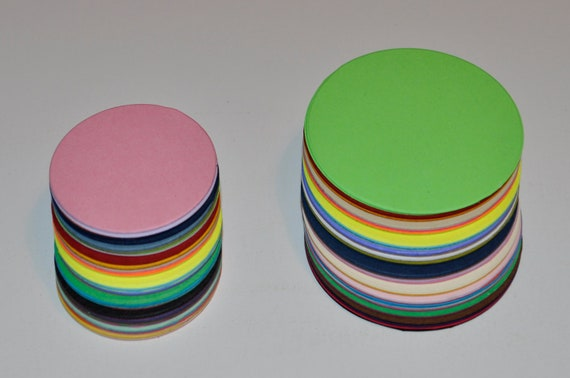 120 Die cut Circles, 1.5 and 2 inch Cardstock Circles in rainbow, NO.60
