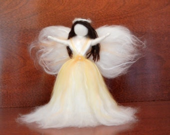 Christmas tree topper angel w/swarovski crystal - needle felted wool - waldorf style - made to order  item 1-4001