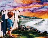 Inspired by Psalms, Watercolor Painting of Little Boy Looking at Sunset, Beach paintings, Christian Art, Christian Paintings, Psalm 139