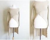 90s Criss Cross Taupe Long Sleeve Tunic Dress