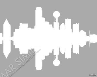 "Dallas, Texas ""Silhouette"" city skyline digital art print- 8"" x 10""- FREE SHIPPING"