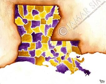"Louisiana Parish Map watercolor painting- 8"" x 10"" art print- purple and gold- LSU"