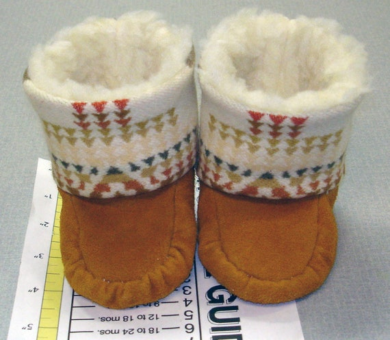 3/4 New Handmade Baby Pendleton Wool Deer Leather Tall Moccasins Mukluks Booties