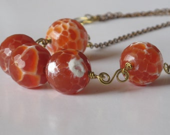 fire agate brass wire  necklace