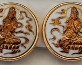 Vintage Toshikane Arita Porcelain Japan God of Fortune Benzaiten Goddess of Beauty Earrings