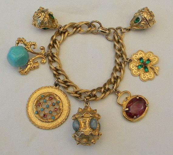 Vintage 1950s Chunky Charm Bracelet Rhinestone Cabochon Etruscan Fobs