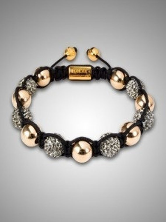 NEW European bracelet 10MM Hip Hop disco pave Golden beads balls CZ crystal Disco Balls Macrame Adjustable bracelet - NY028