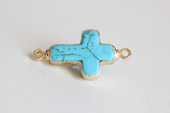 Turquoise Sideways Cross Charm Connector - colored side cross link with vermeil gold trim