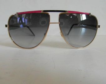 Vintage Pink & Navy Blue Yellow Gold Aviator Sunglasses