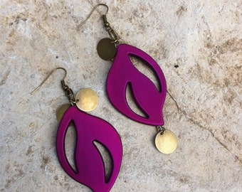 Large Purple and Brass Tag earrings