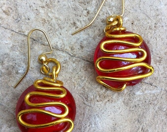 Red Glass with Gold Wire earrings