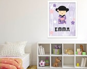 Japanese Kokeshi doll Personalized Baby girl Nursery decor Kids wall art Japan Nursery art Custom gift Purple pink 11x14 16x20 MossyJojo