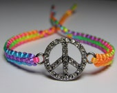 Peace sign bracelet with rhinestones rainbow neon cord