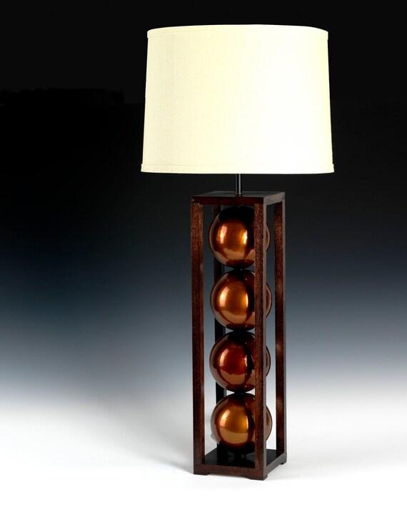 copper table lamp modern lighting wood lamp bedside lamp. Black Bedroom Furniture Sets. Home Design Ideas