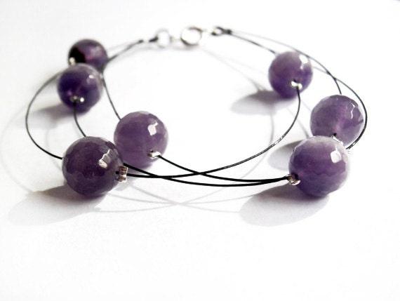 Stone beaded bracelet / bangle bracelet /beaded jewelry / statement jewelry / raw stone jewelry / rough stone bracelet / amethyst / chakra