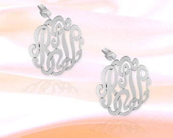 Monogram Earrings - .5 inch Sterling Silver Handcrafted Personalized Initial Earrings - Made in USA