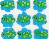 12 Fondant Edible Cupcake/Cookie Toppers - Turtles
