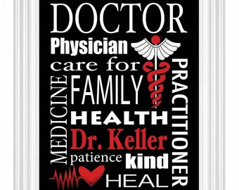 Doctor's Gift - Personalized Subway Sign - 8X10 PRINT- The Original - Surgeon - Custom Name Wall Art - Doctor's Office - Specialized Doctor
