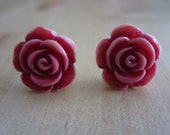 Hand Painted Pink Rose Silver Stud Earrings