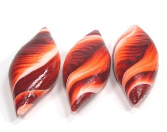 Large leaf shaped beads set in maroon, red, orange and white, Polymer Clay beads, unique pattern, Set of 3 Marquise beads