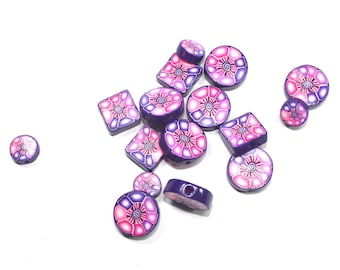Pinks and purple round and Square flat beads, Polymer clay beads, millefiori unique beads pattern, elegant beads, set of  16