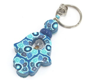 Polymer clay Hamsa keychain, Accessories, handmade keychain,Good fortune Hamsa in blue, turquoise and  white