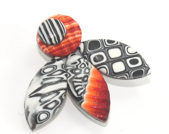 Polymer clay brooch, Red, white and black brooch, elegant brooch, retro and stripes pattern, unique gift for women