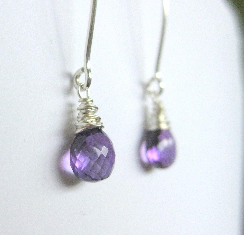 Purple amethyst earrings dangle gemstone by ...