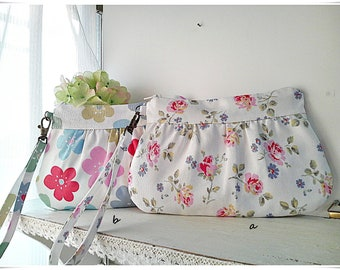 Pleated clutch wristlet gathered purse zip pouch 2 way Cath Kidston cotton canvas