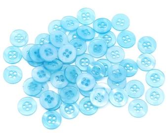 20 Round Plastic Buttons Four Hole 11mm Translucent Blue/Aqua Buttons - 20 Pack PB59
