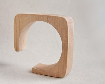 25 mm Wooden cuff unfinished square with break - natural eco friendly ma25
