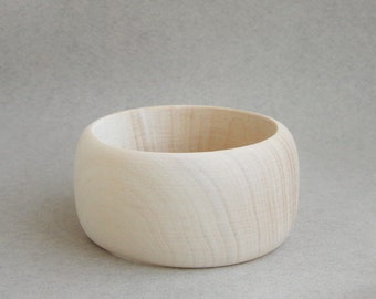 40 mm Wooden bangle unfinished round - natural eco friendly A40