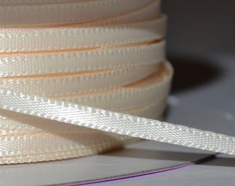 Ivory 1/8 inch double face satin ribbon 10 yards sale clearance