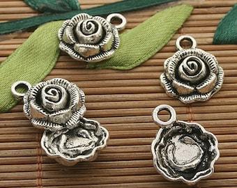 30pcs dark silver tone rose charm h3492