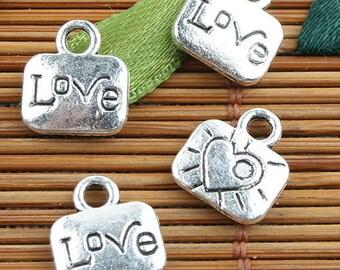 Alloy metal Tibetan Silver color LOVE charms 50pcs EF0113