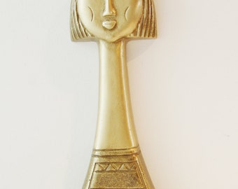 Female head sculpture, brass portrait of Greek woman, log neck, cropped hair sculpture of Greek lady, Greek folk art brass sculpture