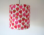 Handmade fabric drum lampshade pink red strawberry girls uk