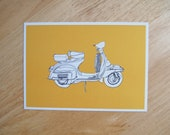 POSTCARD - 6x4.25 inches. Vespa - Orange