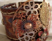 Upcycled Cognac Leather Steampunk Cuff Hand Painted Purple/Red/Gold Stretch