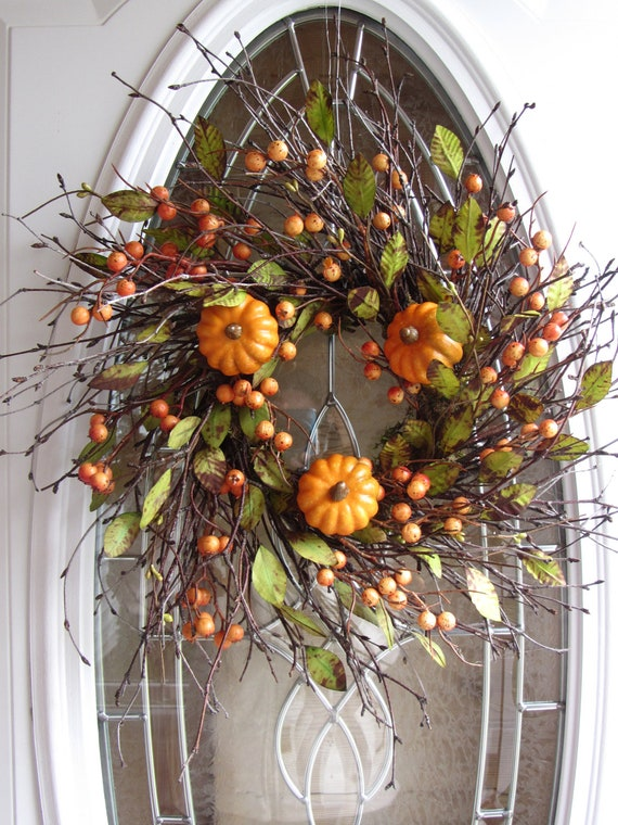 Pumpkin Wreath - Fall Wreath - Autumn Wreath - Front Door Wreath