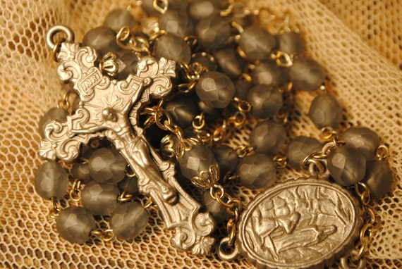 unusual smoky grey blue glass antique rosary with heavy cross and marked LOURDES and spot for Lourdes waternumber 42