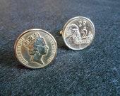 Australian Queen Elizabeth II 2 Dollar Gold Toned Coin Cufflink