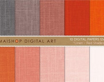 Digital Paper Linen 'Red Shades' Pink Pale, Red, Rusty Red, Redwood, Warm Gray... Textured Papers for Crafts, Cards...