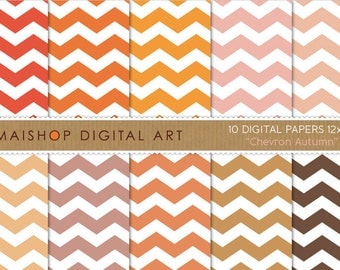 Chevron Digital Paper 'Chevron Autumn' Orange, Pink, Brown... Printable Digital Sheets for Scrapbook, Envelopes, Invites, Cards...