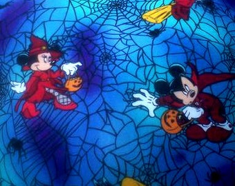 Hand Crafted Mickey Mouse And Pluto Halloween  Print Pillow