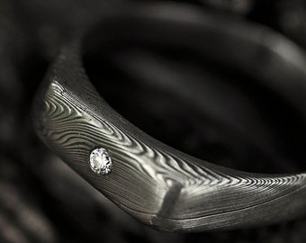 """Engagement Ring or Wedding Band With Diamond, Womens ring, Love ring - Hand made stainless damascus steel ring - """"Prolili"""" with 2mm diamond"""