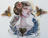 Temporary Tattoo Bees and Girl with a Beehive Heart